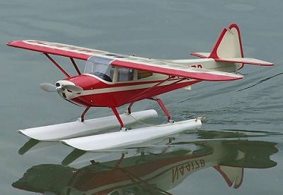 An RC Seaplane floats, lands, and takes off from it's belly